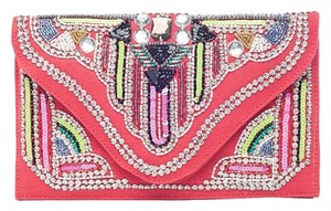 Nila Anthony Jewels Beads Sequins Crystals Pink Coral Clutch