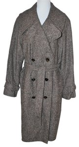 Escada $2200 Women Swarovski Buttons Warn Plaid Long Caot Size 42 Pea Coat