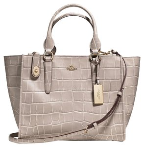 Coach Crosby Carryall Croc Embossed Silver Hardware Tote in LIGHT GOLD /GRAY BIRCH