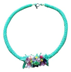 Anthropologie Anthropologie Mint Color Beaded Statement Piece Necklace