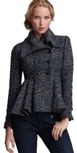 Free People Tweed Double-breasted Peplum Coat