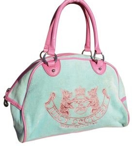Juicy Couture Vintage Monogram Designer Satchel in Robins egg Blue and Pink