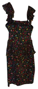 Betsey Johnson short dress Black Floral Adjustable Strapless on Tradesy