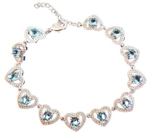 Other London Blue Topaz Sterling Silver 14k Heart Tennis Bracelet