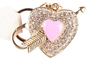 Other Pink Heart Key Chain Ring Gold Tone Big J1731