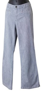 Chico's Size 10 Pinstripe Boot Cut Jeans-Light Wash