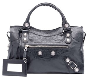 Balenciaga Lambskin Leather Satchel in Anthracite