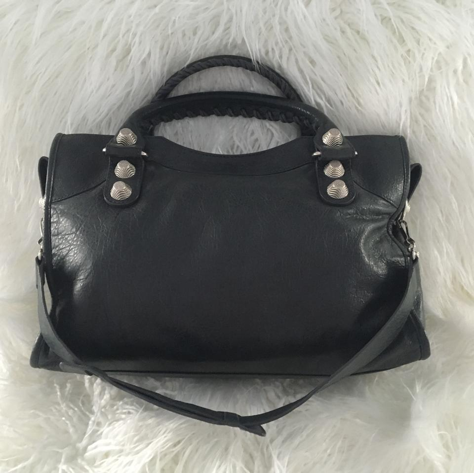 Lambskin 21 Silver Balenciaga Anthracite City Satchel Giant RUT5cqv