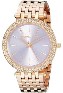 Michael Kors MICHAEL KORS Darci Pave Rose Gold-Tone Watch Purple Dial Crystal Bezel Ladies Fashion Watch