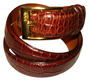 Ralph Lauren Ralph Lauren Brown Leather Printed Belt