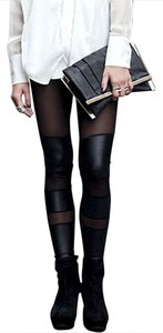Romwe Mesh Faux Leather Black Leggings