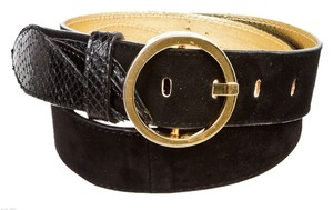 D&G Details about D&G Black Suede and Snakeskin Gold Buckle Belt (Size 90)