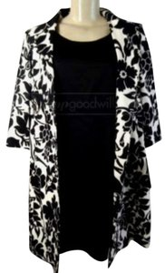 Kasper $ 280 NWT Kasper 2Pc Black White Dress Suit Sz 8P Floral Knee Length Long Sleeve