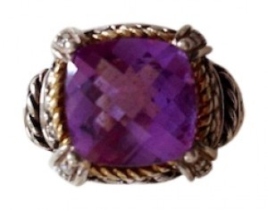 Andrea Candela Amethyst and Diamond Ring