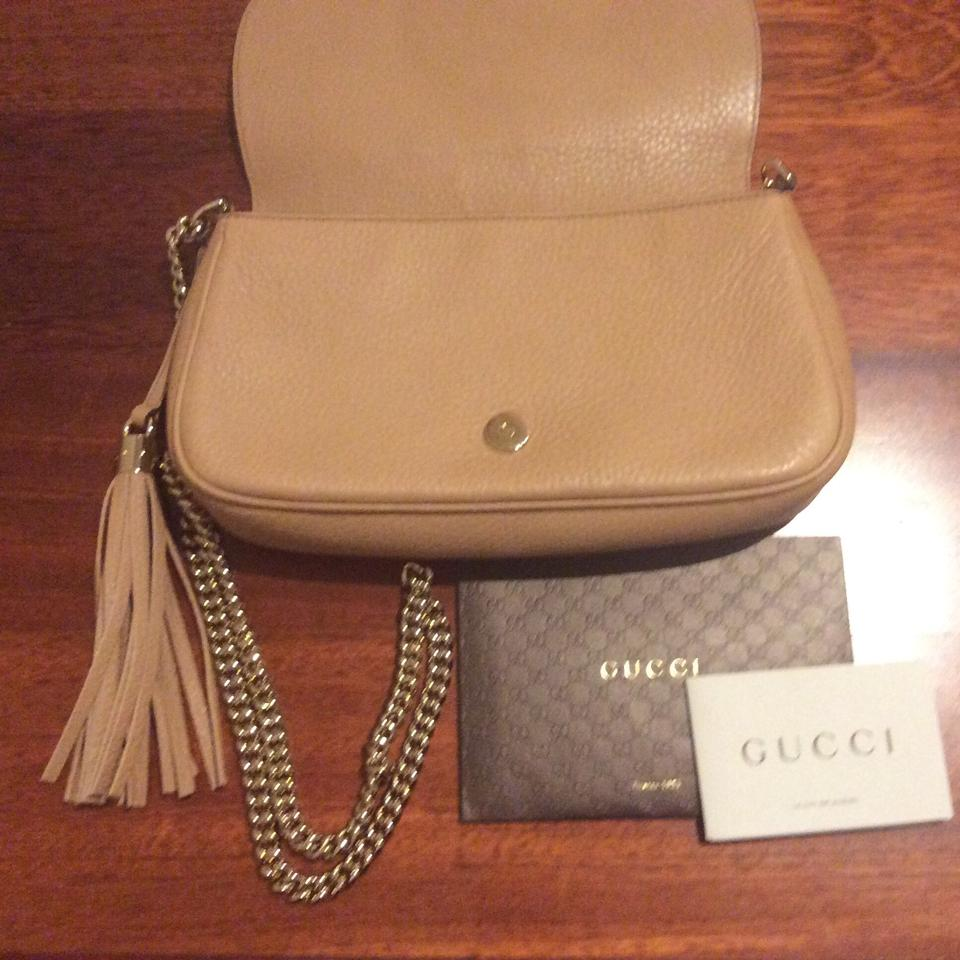 b494174287ff Gucci Light Leather Soho Leather Shoulder Gold Chain Front Flap Large  Embossed Flap Cross Body Bag. 123456