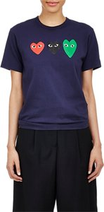 COMME des GARÇONS Play Playful Heart Cdg Play Heart Fashion Casual T Shirt navy