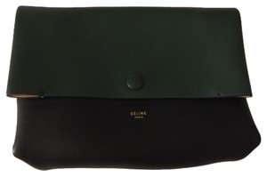 Céline Bottle Green With Tan And Black Clutch