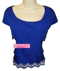 Ya Los Angeles Boutique Cutout Lace Cut Out Boatneck Boat Neck Royal True Top Blue