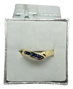 Other 14K Solid Yellow Gold V-Shape Sapphire Ring