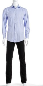 David August David August Blue Men's Button Down Shirt (size 46)