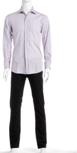 David August David August Purple And White Plaid Men's Shirt (size 49)