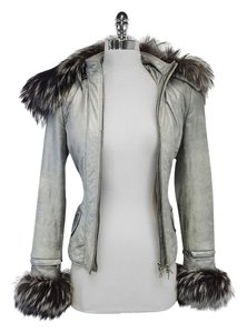 Aphero Silver Suede With Fox Fur Fox Fur Fox Fur Trims Fox Fur Trims Fur Trims Jacket