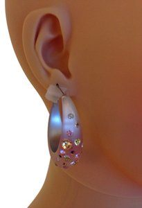 Pink Lucite Hoops with crystals