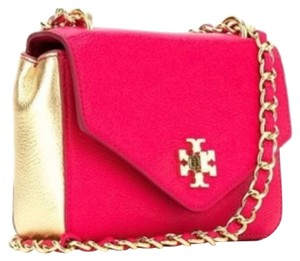 Tory Burch Carnation red pink gold Clutch