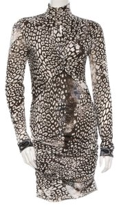 Emilio Pucci Animal Print Longsleeve Wool Leopard Turtleneck Gold Hardware New 8 M Medium 44 Dress