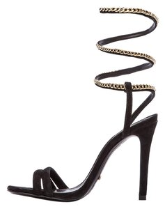 SCHUTZ Ankle Wrap Strappy Gold Black Sandals