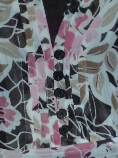 Notations Business Casual Floral Top Brown