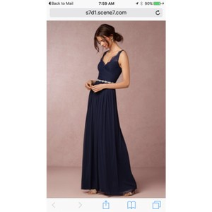 BHLDN Navy Blue Nylon Tulle Lace Polyester Lining Modern Bridesmaid/Mob Dress Size 2 (XS)