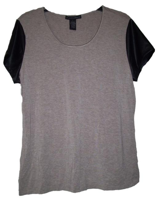 Item - Brown Sleeve Faux Leather T-shirt Tee Shirt Size 14 (L)