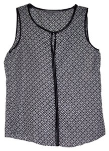 New York & Company Sleeveless Alluring Keyhole Top Black/White