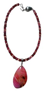Handmade Pink Agate Stone Beaded Necklace W/ Large Agate Pendant N002