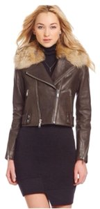 Andrew Marc Grey Leather Jacket