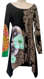 Desigual short dress Black/Multi Cotton Party Edgy Bohemian Longsleeve on Tradesy