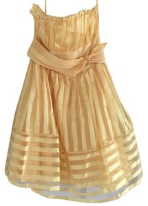 Betsey Johnson Sheer Sheer Detail Stripe Stripes Poofy Tie Waist Tie Side Tie Strapless Dress
