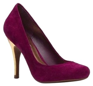 Jessica Simpson Suede Gold Metallic Cranberry Pumps