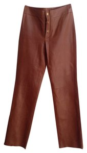 Gucci Leather Boot Cut Pants Brown