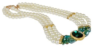 New Faux Pearl Crystal Flower Bib Necklace Chunky Green Gold J1735