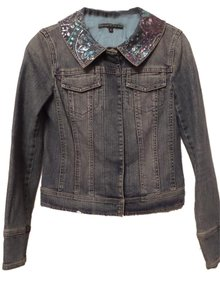 Antonio Melani Jean Distressed Sequin Collar Medium Blue Wash Womens Jean Jacket