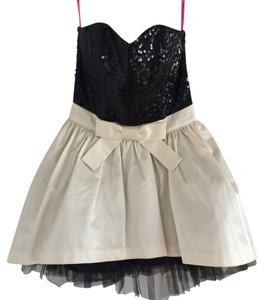Betsey Johnson Sequin Black Sequin Black And White Tuelle Tie Bow Tie Dress
