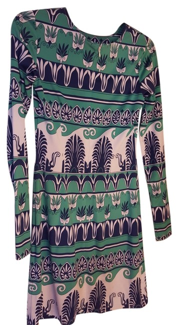 Item - Teal Navy & White Nieman Marcus Last Call Mid-length Short Casual Dress Size 2 (XS)