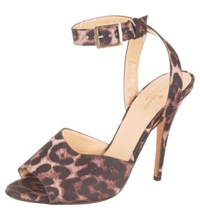 Kate Spade Satin Leopard Open Toe Heel Buckle Brown Sandals