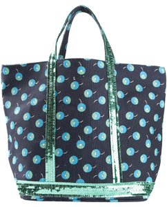 Vanessa Bruno Tote in Small Canvas Shopper Cherry/Blue/Emerald