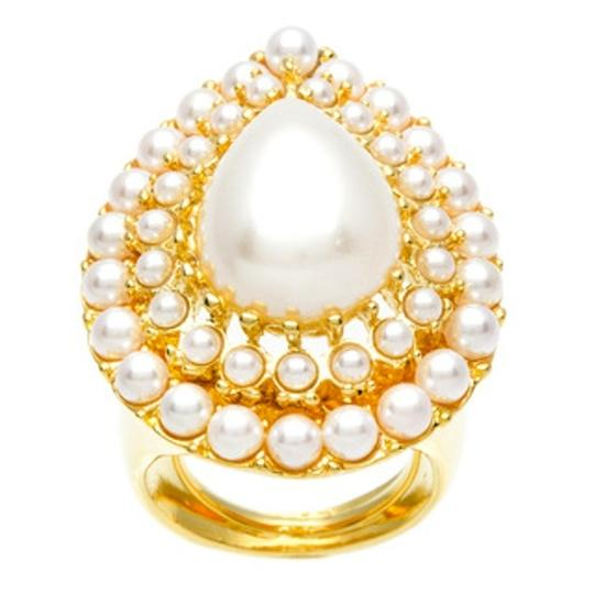 Kenneth Jay Lane Kenneth Jay Lane Gold Overlay Faux Pearl Teardrop Ring