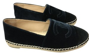Chanel Espadrille Cc Slip-on Velvet Navy/Black Flats