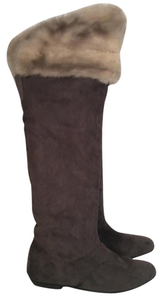 67141675c9 Chinese Laundry Gray Knee High W Rabbit Fur Trim Boots Booties Size ...