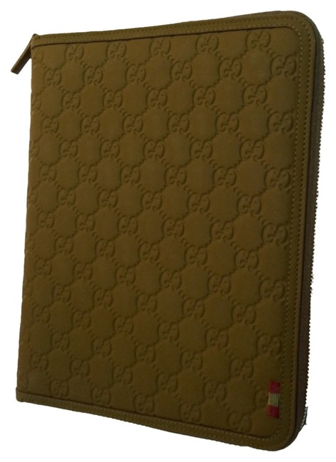 Item - Green Leather Gg Case --- Ipad/Tablet/Travel Tech Accessory